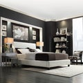MID-CENTURY LIVING Castilian White Upholstery Queen/ Full Bed