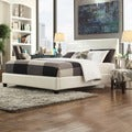 TRIBECCA HOME Castilian White Upholstery King-size Bed