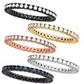 Plated Sterling Silver Clear Cubic Zirconia Stackable Eternity Band