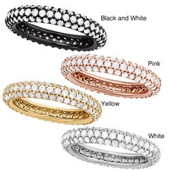 Plated Silver Clear Cubic Zirconia Stackable 3-row Eternity Band