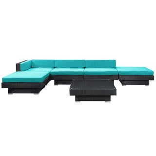 Laguna Outdoor Rattan 6-piece Set in Espresso with Turquoise Cushions