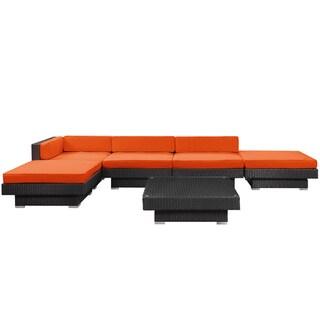 Laguna Outdoor Rattan 6-piece Set in Espresso with Orange Cushions