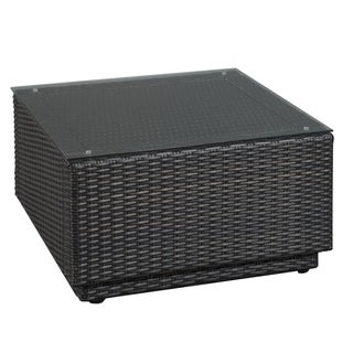 Riviera Deep Brown Resin Wicker Glass-top Outdoor Cocktail Table