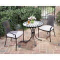 Black and Tan 3-piece Tile Top Bistro Set
