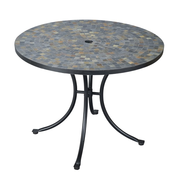 Slate Tile Top Dining Table Patio Furniture Outdoor Weather Tables