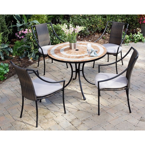 Valencia Terra Cotta Tile Table and Laguna Arm Chairs 5-piece Dining Set