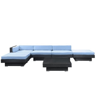 Laguna Outdoor Rattan 6-piece Set in Espresso with Light Blue Cushions