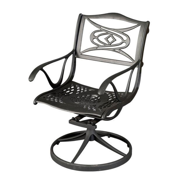 Home Styles Malibu Black Outdoor Swivel Chair
