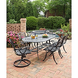 Home Styles Malibu Cast Aluminum Black 7-piece Outdoor Dining Set
