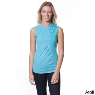 AtoZ Women's Gathered Sleeveless V-neck Top