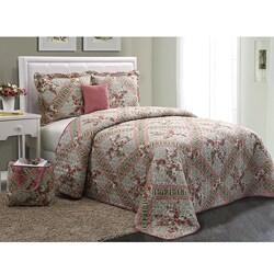 Floral Pink 5-piece Quilt Set