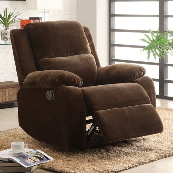 Angus Coffee Brown Velvet Recliner Chair