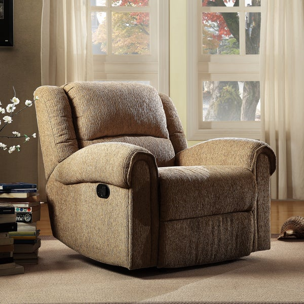 TRIBECCA HOME Polmont Beige Chenille Tufted Recliner