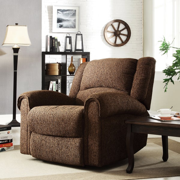 TRIBECCA HOME Polmont Dark Brown Chenille Tufted Recliner