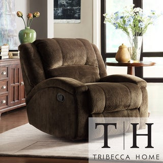 TRIBECCA HOME Bollington Chocolate Champion Microfiber Recliner Chair