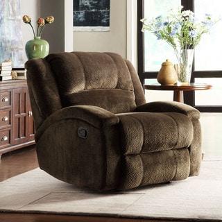 TRIBECCA HOME Bollington Chocolate Champion Microfiber Recliner Chair
