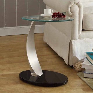 ETHAN HOME Ryde Oval Tempered Glass Steel Modern End Table