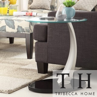 TRIBECCA HOME Ryde Oval Tempered Glass Steel Modern End Table