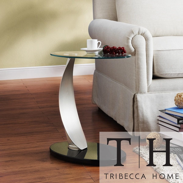 tribecca home ryde oval tempered glass steel modern end tabl