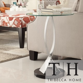TRIBECCA HOME Ryde Round Tempered Glass Steel Modern End Table