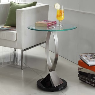 ETHAN HOME Ryde Round Tempered Glass Steel Modern End Table