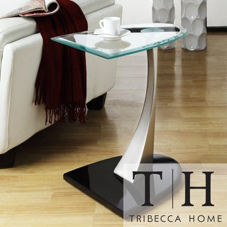 TRIBECCA HOME Ryde U-shaped Tempered Glass Steel Modern End Table