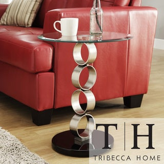 TRIBECCA HOME Ryde Running Circle Pillar Tempered Glass Steel End Table