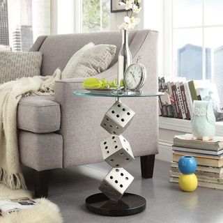 TRIBECCA HOME Ryde Dice Pillar Tempered Glass Steel Modern End Table
