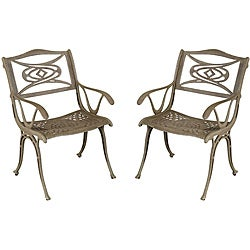 Malibu Cast Aluminum Taupe Outdoor Chairs (Set of 2)