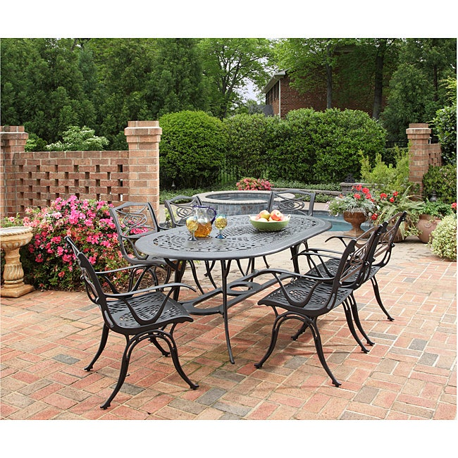 Cast Aluminum Black 7 Piece Outdoor Dining Set Patio