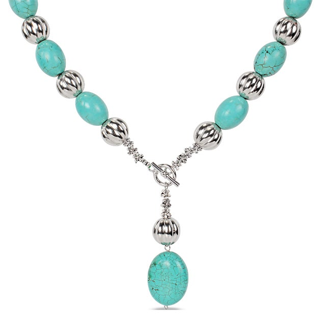 M by Miadora Silvertone Created Turquoise 18-inch Toggle Necklace