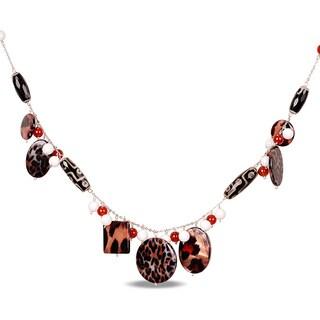M by Miadora Silvertone Zebra, White Agate and Carnelian 32-inch Necklace
