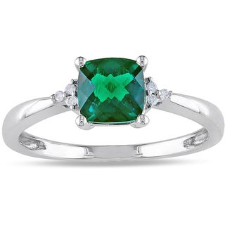 Miadora 10k White Gold 1ct TGW Created Emerald and Diamond Accent Ring