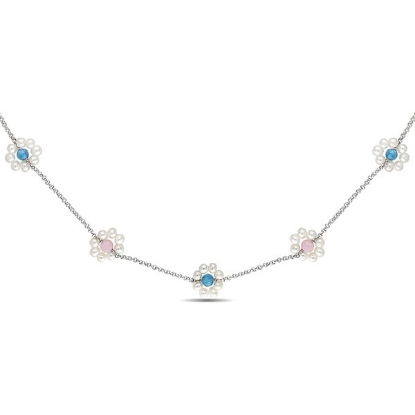 Miadora Silver Blue Agate, Rose Quartz and Pearl 39-inch Flower Necklace (4-5 mm)