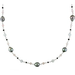 Miadora Sterling Silver Multi-gemstone and Tahitian Pearl Necklace (9-10 mm)