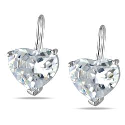 Miadora Sterling Silver Heart-shaped Cubic Zirconia Earrings