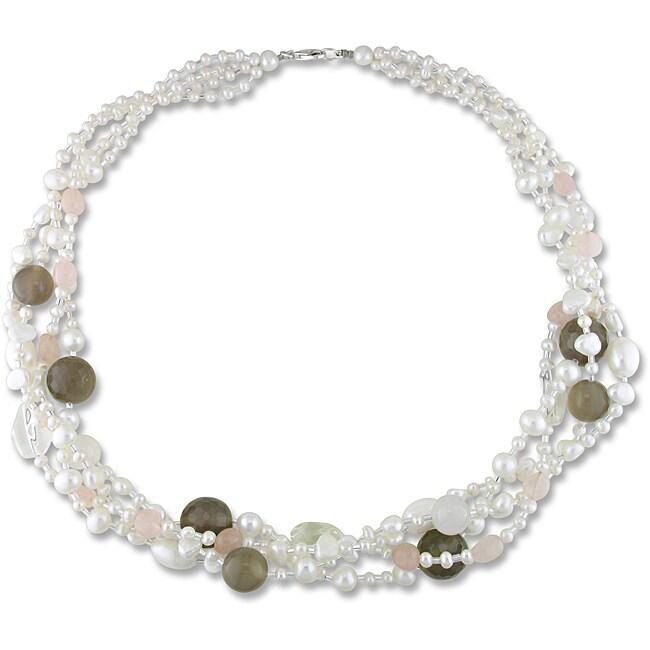 Miadora Quartz, Agate and Freshwater Pearl Multi-strand Necklace (4-8.5 mm)
