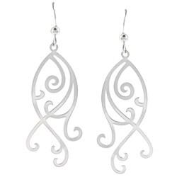 La Preciosa Sterling Silver Flat Long Swirl Earrings