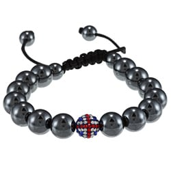 La Preciosa 10-mm UK Flag Crystal and Hematite Bead Macrame Bracelet