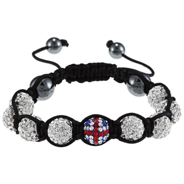 La Preciosa 10-mm UK Flag and White Crystal Bead Macrame Bracelet