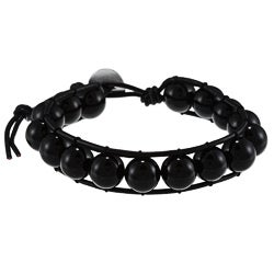 La Preciosa Sterling Silver 10-mm Black Crystal Bead Wrap Bracelet