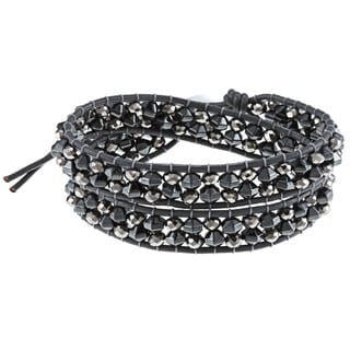 La Preciosa Silver and Grey Leather Crystal Bead Wrap Bracelet
