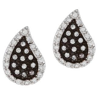 La Preciosa Black-plated Silver Clear Cubic Zirconia Teardrop Earrings