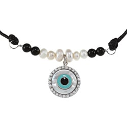 La Preciosa Silver FW Pearl, Onyx, Mother of Pearl and CZ Necklace