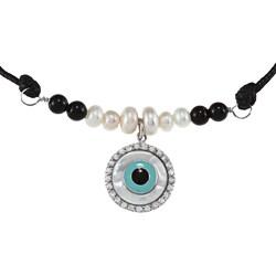 La Preciosa Silver FW Pearl, Onyx, Mother of Pearl and CZ Necklace