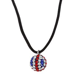 La Preciosa Sterling Silver UK Flag Crystal Bead Black Cord Necklace