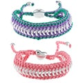 La Preciosa Silvertone Circle Link and Cord Friendship Bracelet