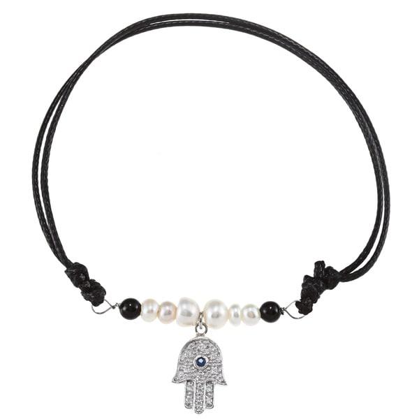 La Preciosa Sterling Silver FW Pearl, Onyx and CZ Hamsa Bracelet (4-6 mm)