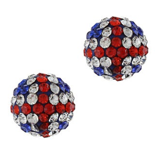 La Preciosa Sterling Silver 10-mm UK Flag Crystal Bead Stud Earrings