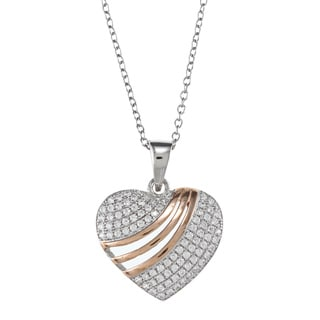 La Preciosa Silver and Rose Gold Cubic Zirconia Heart Necklace